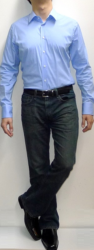 c81f08fd Men's Light Blue Dress Shirt Dark Blue Jeans Black Belt Black Dress Shoes