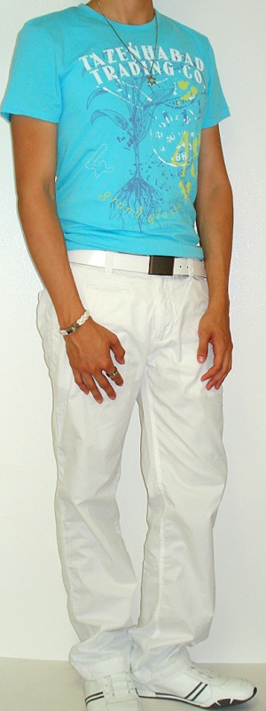 Light Blue Graphic Tee White Cotton Pants White Leather Belt White Sneakers