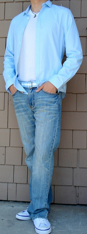 Men's Blue Dress Shirt Blue Ribbon Belt Light Blue Jeans White Shoes