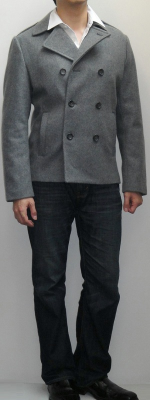 Men's Light Gray Pea Coat White Shirt Dark Blue Bootcut Jeans Black Dress Loafers