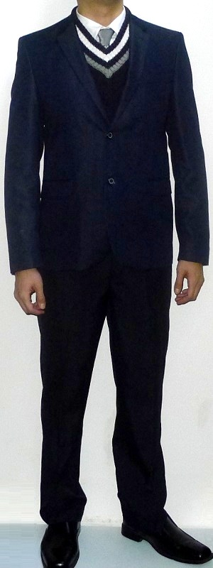 Men's Navy Blazer Navy V-neck Sweater Silver Tie White Shirt Navy Dress Pants Black Leather Shoes