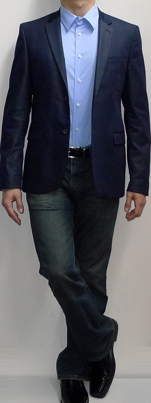 Men's Navy Blazer Light Blue Dress Shirt Dark Blue Jeans Black Belt Black Dress Shoes