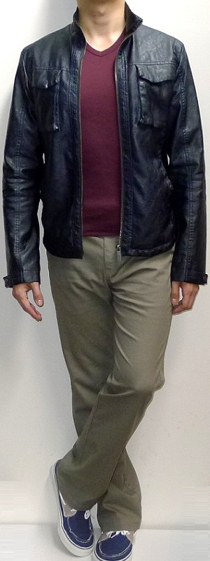Men's Navy Leather Jacket Maroon V-neck T-shirt Khaki Pants Navy Canvas Shoes