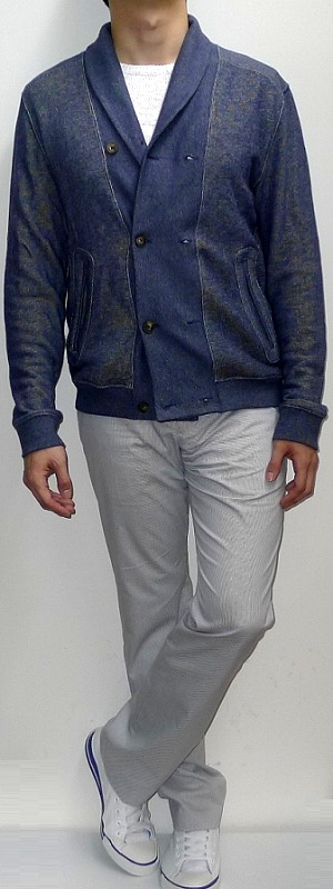 Men's Navy Shawl Jacket White Sweater Gray Pants White Canvas Shoes