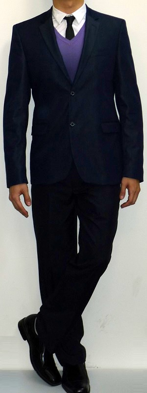 Men's Navy Suit Blazer Purple V-neck Sweater White Shirt Black Tie Navy Pants Black Dress Shoes