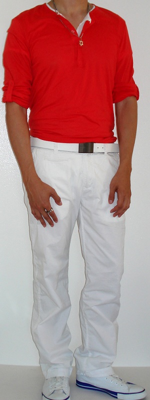 Men's Orange Button Shirt White Belt White Pants White Shoes
