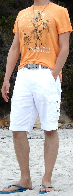 Men's Orange Graphic Tee Gray Belt White Cargo Shorts Blue Sandal