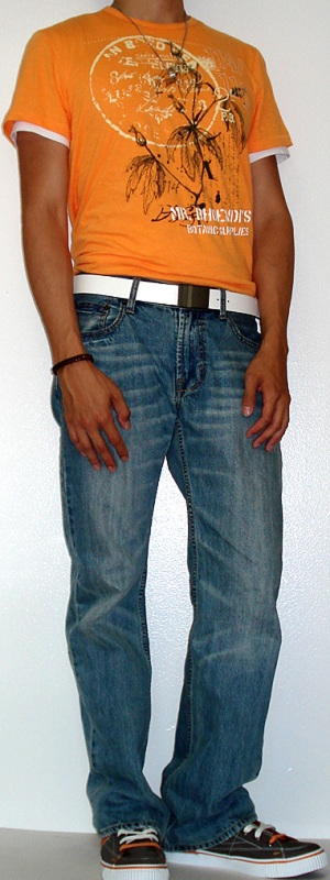 Men's Orange Graphic Tee Light Blue Jeans Gray Shoes White Belt