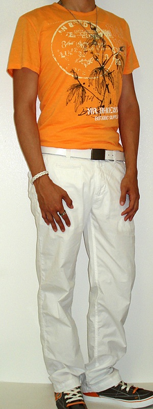 Men's Orange Graphic Tee White Cotton Pants White Leather Belt White Sneakers
