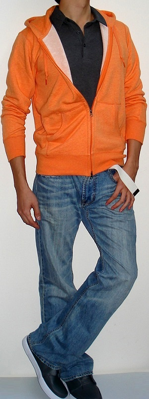 Orange Hooded Jacket Dark Gray Polo White Belt Light Blue Jeans Gray Shoes