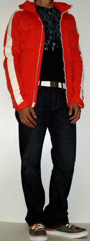 Men's Orange Jacket Black Graphic Tee White Leather Belt Gray Orange Shoes