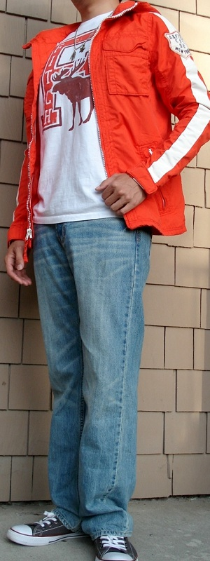 Men's Orange Jacket Light Blue Jeans Gray Shoes