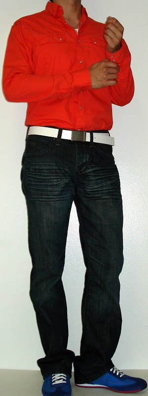Men's Orange Shirt White Belt Dark Blue Jeans Blue Shoes
