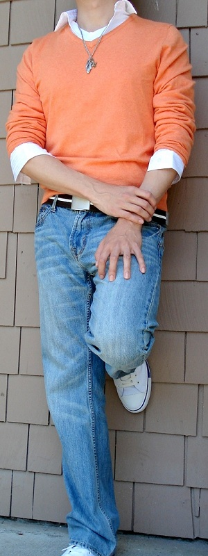 Men's Orange Sweater White Shirt Brown Belt Light Blue Jeans White Shoes