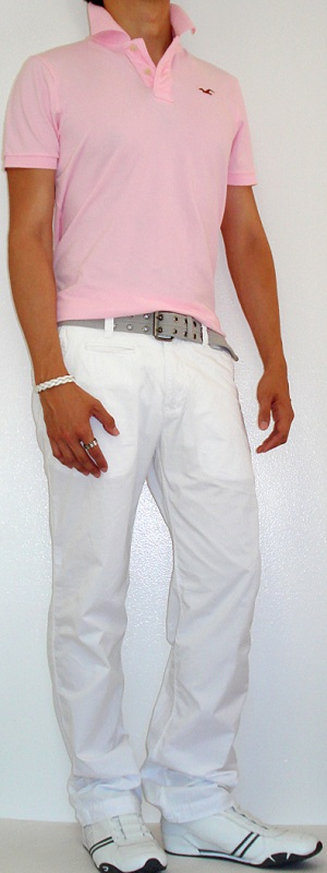 Men's Pink Polo Gray Cotton Belt White Pants White Sneakers