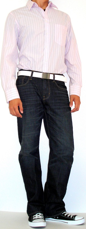 Pink Shirt White Leather Belt Black Canvas Shoes