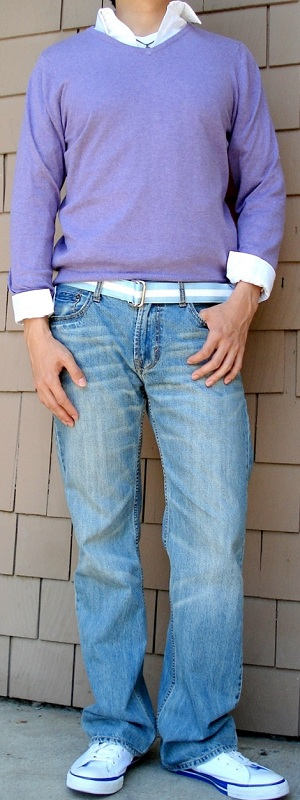 Purple Sweater White Shirt Blue Ribbon Belt Light Blue Jeans White Shoes