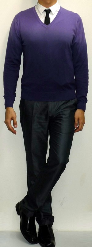 Purple V-neck Sweater White Shirt Black Tie Dark Gray Pants Black Dress Shoes