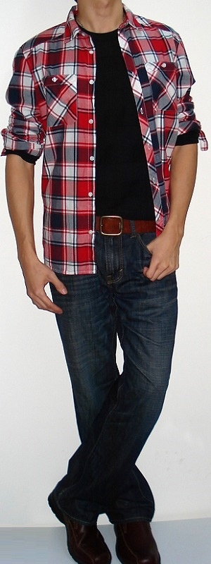 Red Black White Plaid Shirt Black T-shirt Brown Belt Dark Blue Jeans Brown Shoes