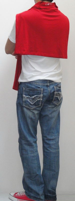 Men's Red Cape White Short Sleeve V Neck T-Shirt Light Blue Jeans Pink Canvas Shoes