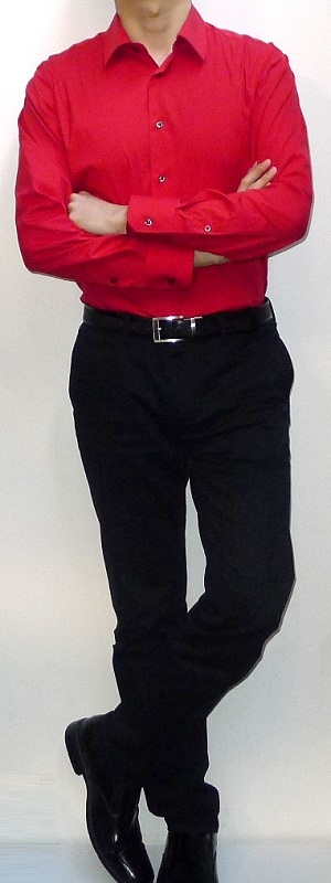 Men's Red Dress Shirt Black Belt Black Dress Pants Black Leather Loafers