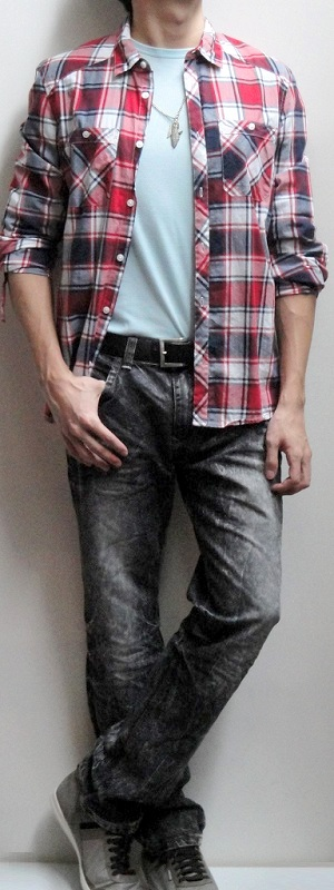 Men's Red Plaid Casual Shirt Light Blue Crew Neck Tee Dark Brown Belt Black Snow Jeans Gray Shoes