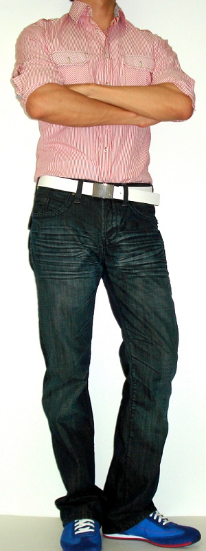Men's Red Striped Shirt Blue Fashion Shoes White Leather Belt Dark Blue Jeans