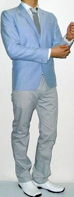 Baby Blue Blazer White Shirt Silver Tie Grey Pants White Dress Shoes