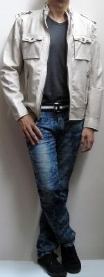 Beige Leather Jacket Black T-Shirt Blue Snow Jeans Black Sneakers