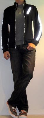 Black Athletic Jacket Gray Tshirt Black Jeans Brown Sneakers
