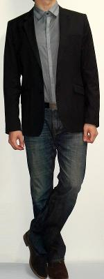 Black Blazer Dark Gray Striped Shirt Dark Blue Jeans Brown Boots Black Belt