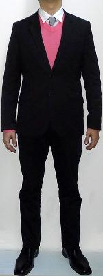 Black Blazer Pink V-neck Sweater Silver Tie White Shirt Black Pants Black Leather Shoes