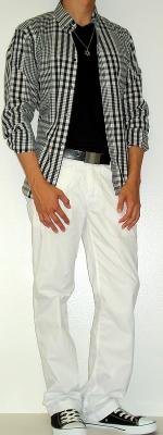 Black Checkered Shirt Black T-Shirt Black Belt White Pants Black Canvas Shoes