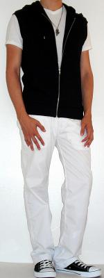 Black Hooded Vest Black Shoes White V-Neck T-Shirt White Pants