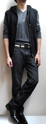 Black Hooded Vest Grey Striped V-Neck T-Shirt White Belt Black Jeans Black Leather Shoes