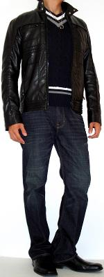 Black Leather Jacket Dark Blue Sweater Vest Black Dress Shoes