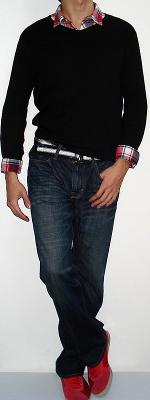 Black Long Sleeve T-shirt Red Plaid Shirt Black White Webbing Belt Dark Blue Jeans Red Shoes