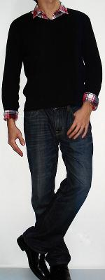 Black Long Sleeve T-shirt Red Plaid Shirt Dark Blue Jeans Black Dress Shoes