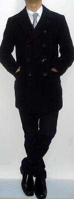 Black Peacoat Silver Tie White Shirt Black Pants Black Leather Shoes