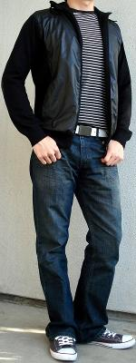 Black Perforated Jacket Black White Striped T-Shirt White Belt Gray Shoes