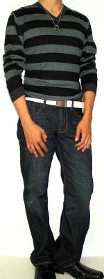 Black Striped Sweater Dark Blue Jeans White Leather Belt Black Dress Shoes