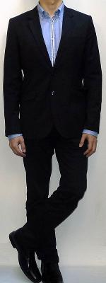 Black Suit Blazer Blue Shirt With White Placket Black Belt Black Dress Pants Black Leather Loafers
