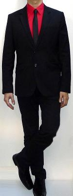 Black Suit Blazer Red Dress Shirt Black Tie Black Belt Black Dress Pants Black Leather Loafers