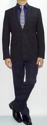 Black Suit Dark Blue Dress Shirt Black White Striped Necktie Black Dress Shoes
