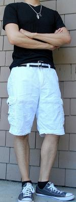 Black T-Shirt Black Webbing Belt White Shorts Gray Shoes