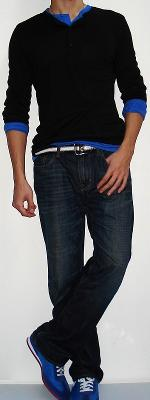 Black Long Sleeve Button T-shirt Blue Long Sleeve Button T-shirt Dark Blue Jeans Blue Sneakers