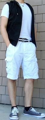 Black Vest Black Ribbon Belt White Shorts Gray Shoes