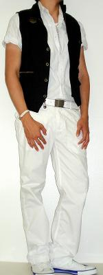 Black Vest White Shirt White Belt White Pants White Sneakers