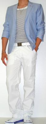 Blue Blazer Black Striped Tank Vest White Belt White Pants White Canvas Shoes