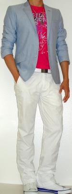 Blue Blazer Pink Graphic Tee White Belt White Pants White Shoes